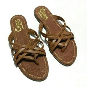 Sam Edelman Circus Cate Brown Flat Slip On Sandals